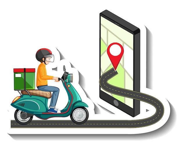 Una plantilla de pegatina con repartidor montando scooter.