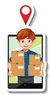 Una plantilla de pegatina con repartidor en uniforme con cajas.