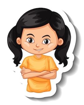 Una plantilla de pegatina con el retrato de un personaje de dibujos animados de niña