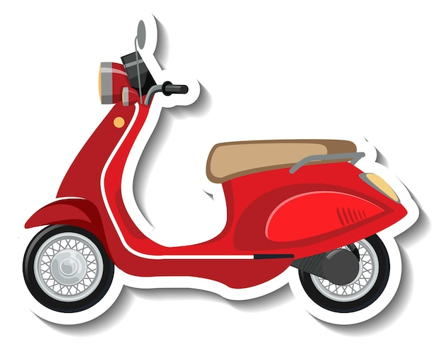 Una plantilla de pegatina con un scooter rojo aislado.
