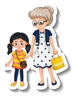Una plantilla de pegatinas con una abuela y su nieta.
