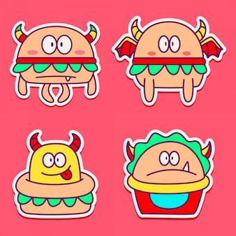 Plantilla de pegatinas doodle diseño dibujos animados monstruos
