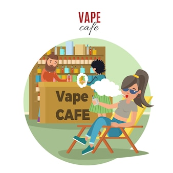Plantilla people in vape cafe
