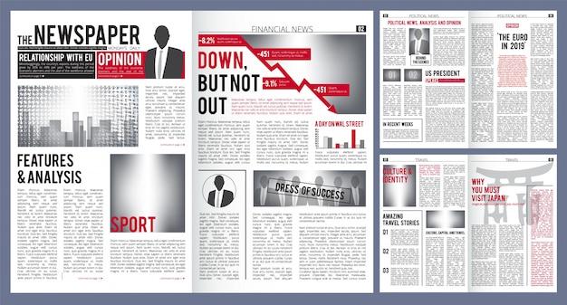 Plantilla de periódico diseño de impresión del titular de la portada del periódico y artículos de finanzas con lugar para el vector de texto