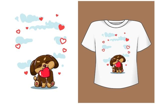 Plantilla perro bonito con ilustración de dibujos animados de amor
