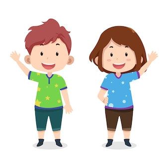 Plantilla de personajes de chat de niños lindos