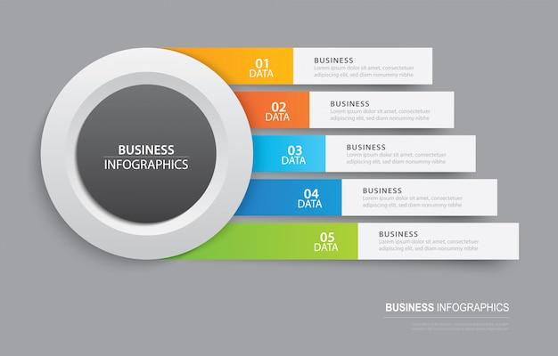 Plantilla de pestaña infografía en índice de papel horizontal con plantilla de 5 datos.