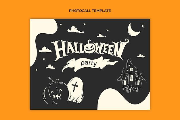 Plantilla de photocall de halloween plana dibujada a mano