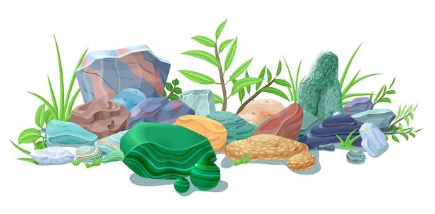 Plantilla de piedras naturales coloridas de dibujos animados