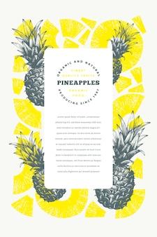 Plantilla de piñas dibujado a mano ilustración de frutas tropicales.