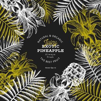 Plantilla de piñas y hojas tropicales. dibujado a mano ilustración de frutas tropicales en la pizarra. grabado estilo ananas fruta.