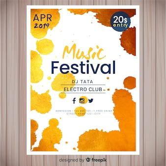Plantilla con pintura abstracta de poster de festival de música