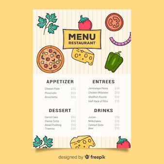 Plantilla de pizza y verduras para alimentos