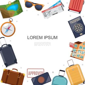 Plantilla plana de accesorios de viaje con mapa, gafas de sol, bolsas, equipaje, navegación, brújula, pasaporte, hotel, sello