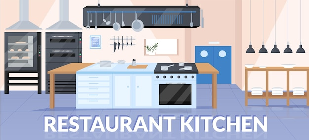 Plantilla plana de banner de cocina de restaurante
