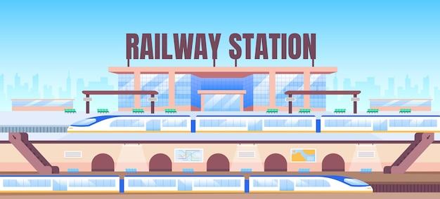 Plantilla plana de banner de estación de tren