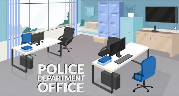 Plantilla plana de banner de oficina del departamento de policía