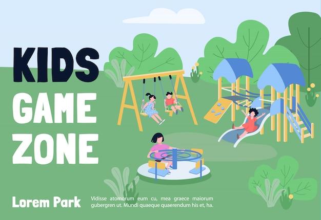 Plantilla plana de banner de zona de juego para niños. folleto, diseño de concepto de póster con personajes de dibujos animados. parque infantil, instalaciones recreativas, volante horizontal, folleto con lugar para texto.