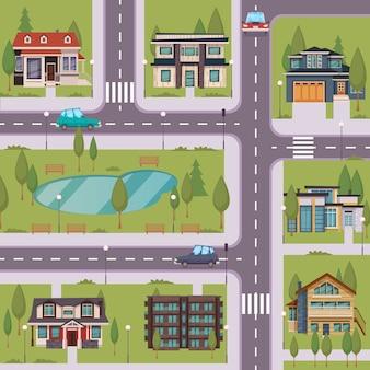 Plantilla plana de campo con casas residenciales suburbanas