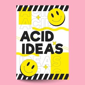 Plantilla plana de cartel de emoji ácido