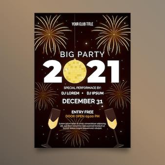 Plantilla plana cartel fiesta año nuevo 2021