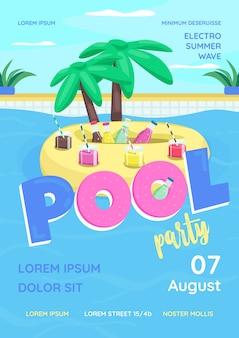 Plantilla plana de cartel de fiesta en la piscina. fiesta en la piscina para adultos, estudiantes