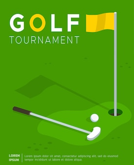 Plantilla plana de cartel de golf torneo promocional