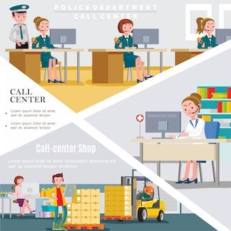 Plantilla plana de centros de llamadas con trabajadores de servicios de línea de ayuda del hospital y tienda del departamento de policía