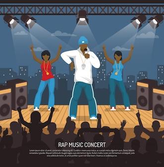 Plantilla plana de concierto de música rap