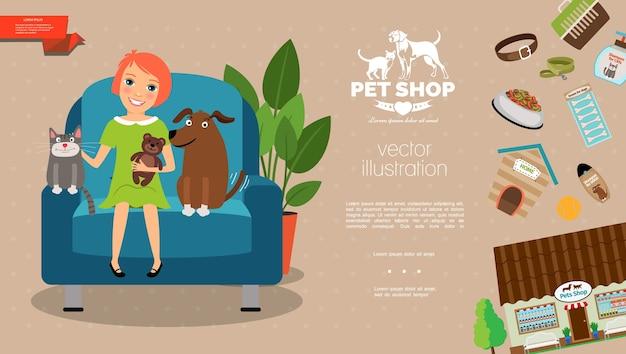 Plantilla plana para el cuidado de mascotas
