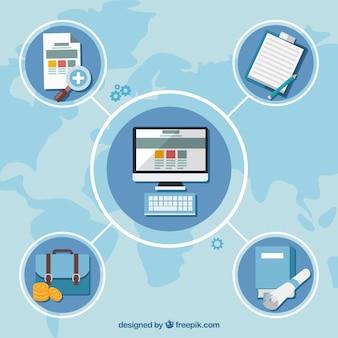 Plantilla plana de diagrama de negocios
