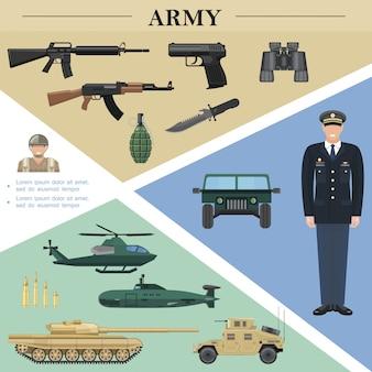 Plantilla plana de elementos del ejército con oficial soldado vehículos militares ametralladoras granada cuchillo binoculares balas de pistola