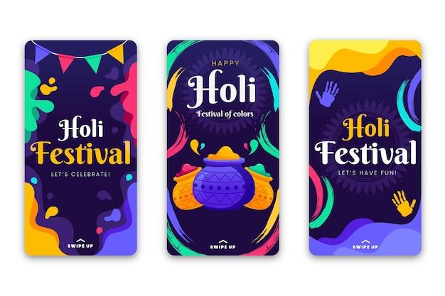 Plantilla plana de historias de instagram del festival holi