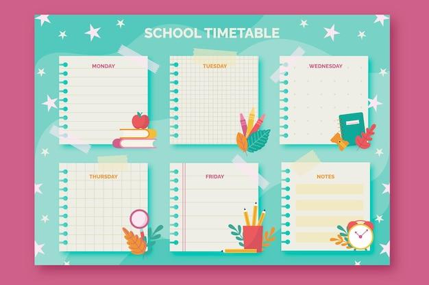 Plantilla plana de horario de regreso a la escuela