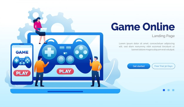 Plantilla plana de ilustración de sitio web de página de inicio de juego en línea