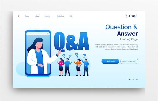 Plantilla plana de ilustración de sitio web de página de inicio de preguntas y respuestas