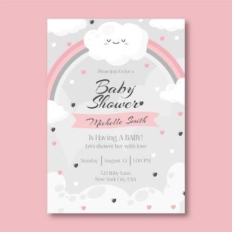 Plantilla plana de invitación para baby shower de chuva de amor