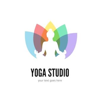 Plantilla plana de logo de yoga