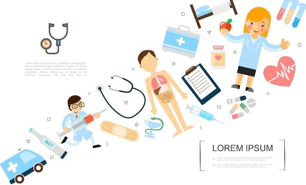 Plantilla plana de medicina y salud con médico corriendo con jeringa enfermera de anatomía corporal con coche de ambulancia de manzana y equipo médico