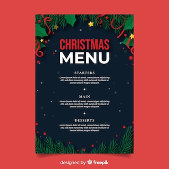 Plantilla plana de menú de navidad y hojas de pino