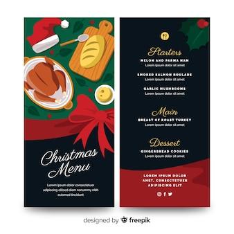 Plantilla plana de menú de navidad y pavo cocido