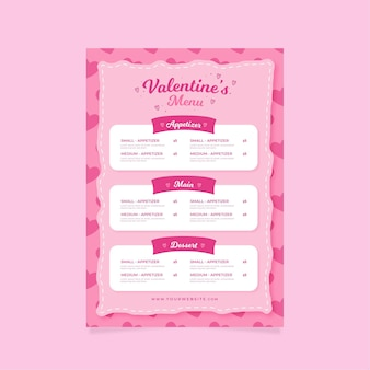 Plantilla plana de menú rosa de san valentín