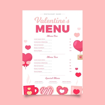 Plantilla plana de menú de san valentín