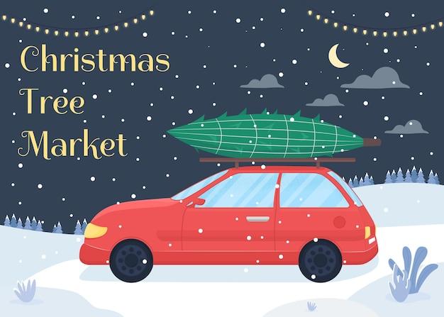 Plantilla plana del mercado de árboles de navidad. feliz año nuevo. venta de temporada. folleto de feria de vacaciones de invierno, folleto