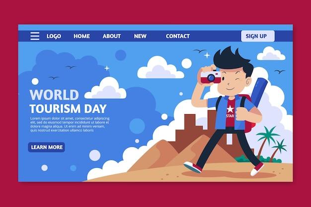 Plantilla plana de página de destino del día mundial del turismo