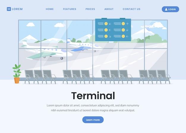 Plantilla plana de la página de destino de la terminal del aeropuerto