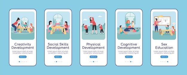 Plantilla plana de pantalla de aplicación móvil de incorporación de desarrollo infantil. tutorial del sitio web 5 pasos con personajes. guardería creativa ux, ui, interfaz de dibujos animados de teléfono inteligente gui, conjunto de impresiones de casos