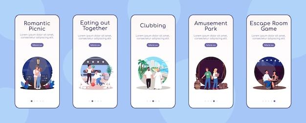 Plantilla plana de pantalla de aplicación móvil de incorporación de fechas creativas. viajar juntas. jugar un juego. pasos del sitio web paso a paso con personajes. ux, ui, interfaz de dibujos animados de teléfono inteligente gui, conjunto de impresiones de casos