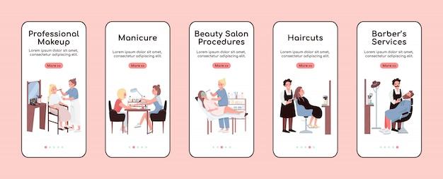 Plantilla plana de pantalla de aplicación móvil de salón de belleza. maquillaje profesional. paso a paso del sitio web con personajes. ux, ui, gui interfaz de dibujos animados de teléfonos inteligentes, conjunto de impresiones de casos