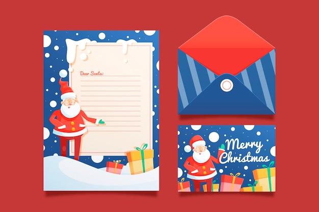 Plantilla plana de papelería navideña